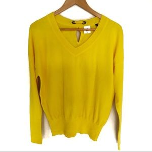 CAbi Canary Back Bow Sweater